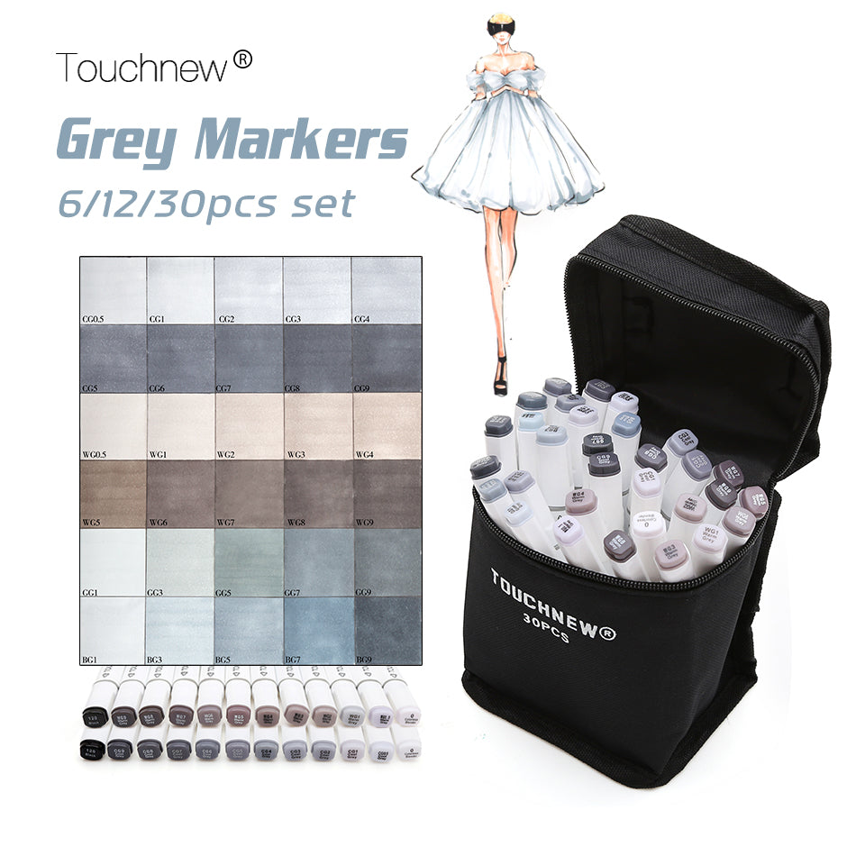 Touchnew Greyscale Markers Set