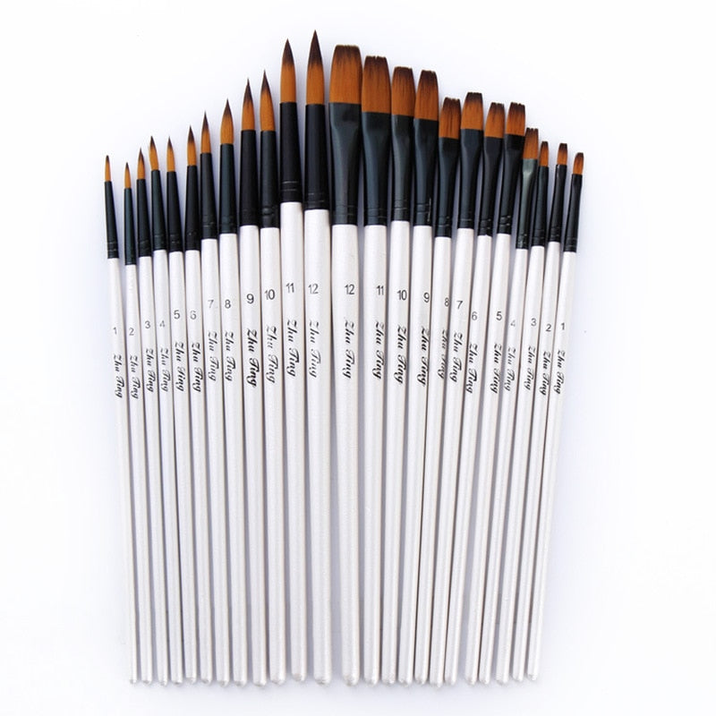 Fine Nylon Hair Paint Brush - Set of 12 or 24 Pieces
