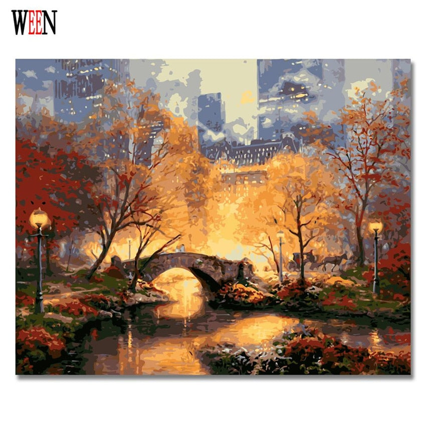The Park on a Fall Day - Paint-By-Number Kit