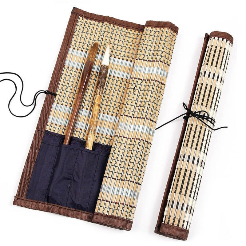 Bamboo Rollup Brush Case