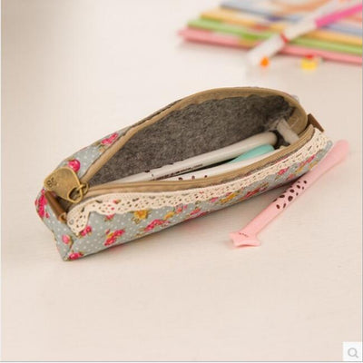 Flower Zipper Pen Case