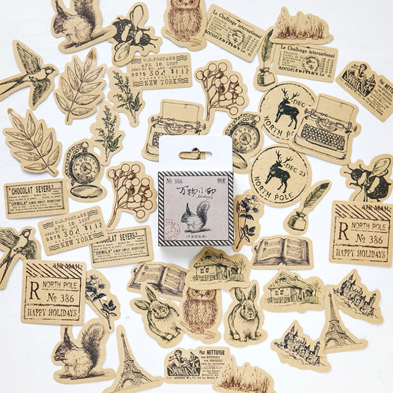 45 Pieces Vintage Animal Sticker