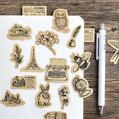 45 Pieces Vintage Animal Sticker - Terra Art Shop