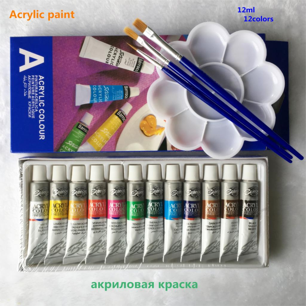 12 Colors Acrylic Paint Set  (12 ML) - Terra Art Shop