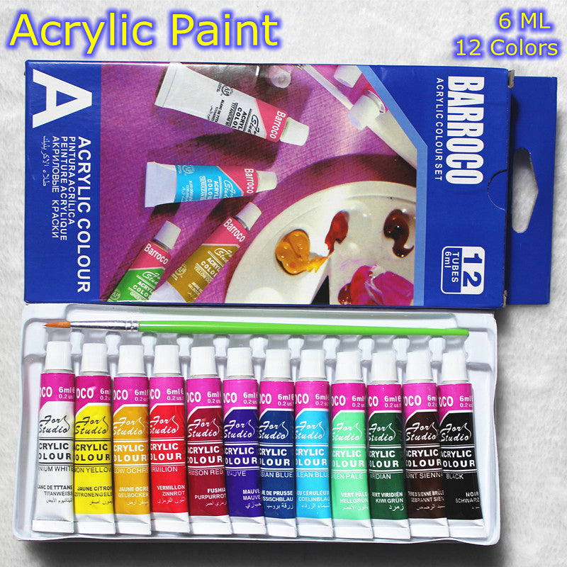 12 Color Acrylic Paint Set (6 ML) - Terra Art Shop