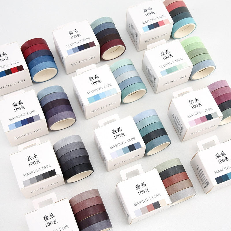 Solid Color Washi Tape - 5 Set