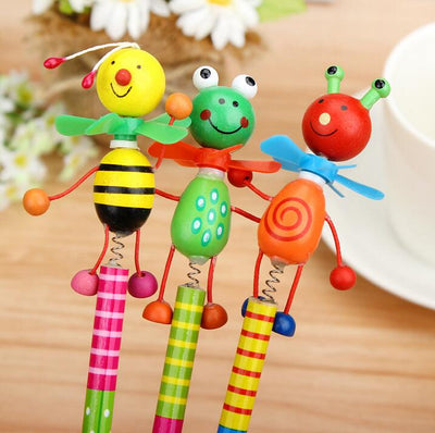 6 Piece Wooden Animal Pencil Set