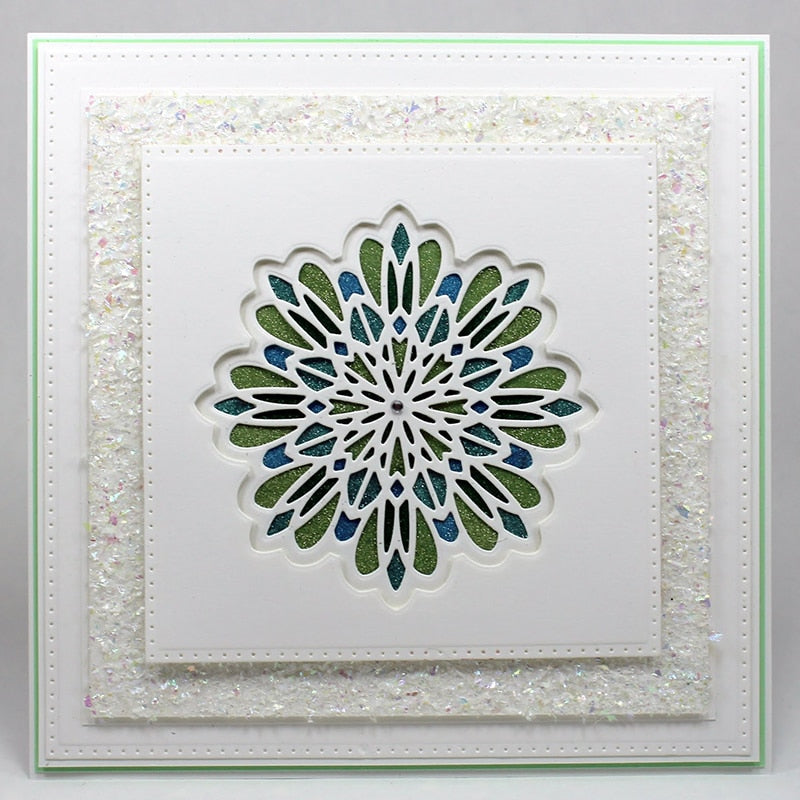 Multi Layered Floral Frame Die Cut Stamp Embossing Paper Card