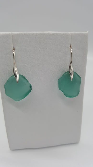 Aqua coloured Sea Glass and Sterling Silver earrings