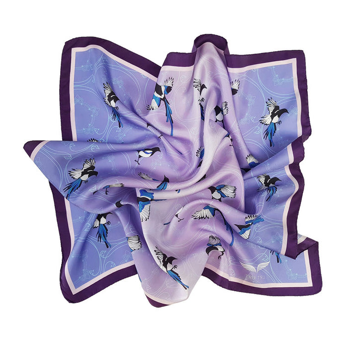 Tru Tru Stories Purple and Lilac Magpie Silk Scarf