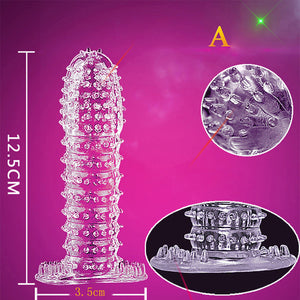 Silicone Spike Dotted Ribbed Clear Condom - Penis Extension Sleeve.Condom,A.G. Calibre