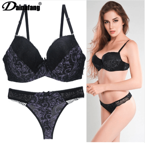 Sexy Lingerie Thong Push Up Bra Set | Floral Lace Bralette Underwear | High Quality Lingerie at a Cheap Discounted Sale Price.free lingerie set,G Calibre