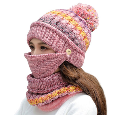 3pcs Winter Mask Hat Scarf