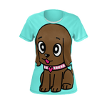 Miss Muddy Puppy woman's t-shirt in sky blue