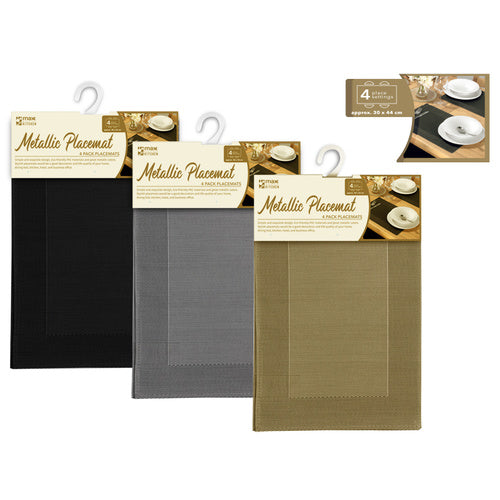 4 Peice Metallic Placemats - Grocery Deals