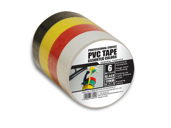 PVC Tape 4 Piece 19mm x 6mm - Grocery Deals