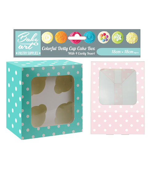 Colorful Dotty Cup Cakes Box Holding 4 Cakes - Grocery Deals