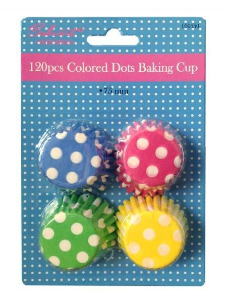 120 Bake Art  Coloured Dots Baking Cups - Grocery Deals