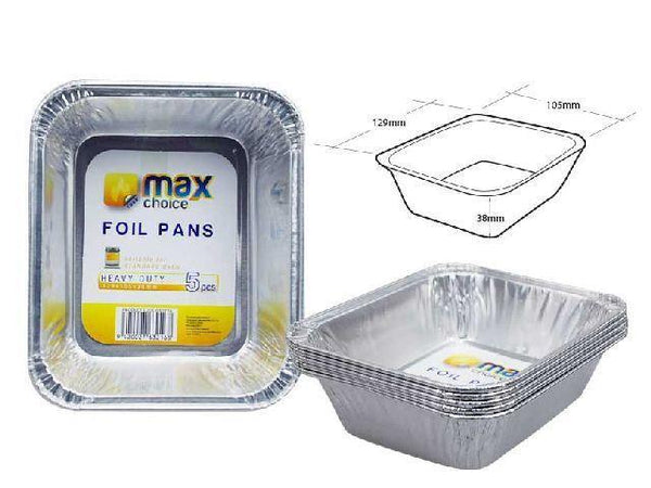 Foil Pie Pans Square 129*105*38mm x5's - Grocery Deals