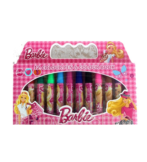 Barbie Marker Colouring Set 12 Set - Grocery Deals