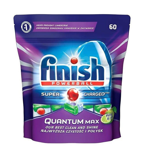 FINISH QUANTUM MAX APPLE AND LIME 60 PACK DISHWASHING TABLETS - Grocery Deals
