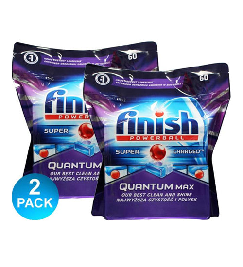 Finish Powerball Quantum Max Dishwashing Tabs 60 Pack x2 - Grocery Deals