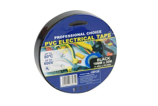 Electrical PVC Tape 18mm x 30m Black - Grocery Deals