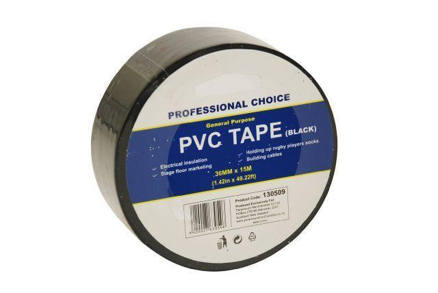 PVC Tape Black 36mm x 15m - Grocery Deals