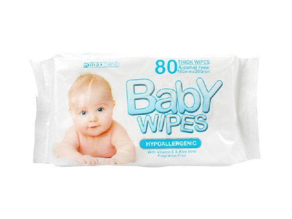 Alcohol Free Baby Wipes 80 Thick Pack with Vitamin E & Aloe Vera - Grocery Deals