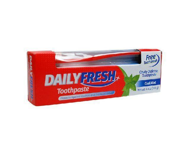 Daily Fresh Fluoride Toothpaste 181g with Free Toothbrush - Grocery Deals