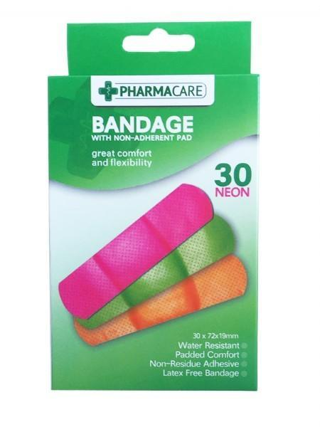 Pharmacare 30 Neon Water Resistant Bandages - Grocery Deals