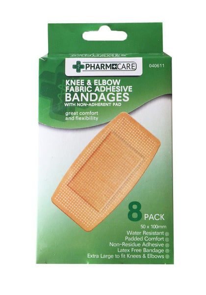Pharmacare Knee & Elbow Fabric Adhesive Bandages 8's - Grocery Deals
