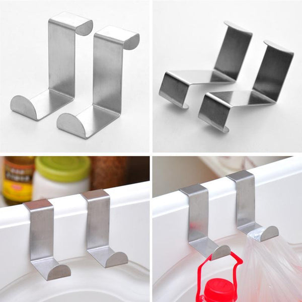 2 x Multifunctional Stainless Steel Over the Door Hooks - Grocery Deals