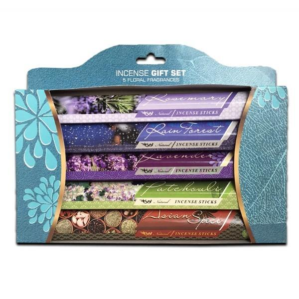Incense Gift Set 5 Floral Fragrances with 15 Incense Sticks in each Pack - Grocery Deals