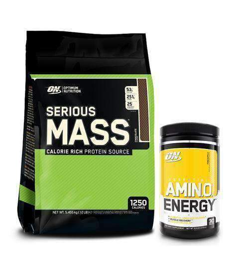 OPTIMUM NUTRITION SERIOUS MASS 12lbs + Amino Energy - Grocery Deals