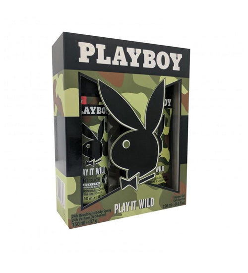 Playboy Play It Wild Gift Set - Body Spray & Shower Gel - Grocery Deals