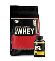 OPTIMUM NUTRITION 100% WHEY 10LB + OPTI-MEN 240 TABS - Grocery Deals