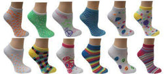 All Mixed Up White Ladies Mix & Match Ankle Socks 12 Sock (6 Pair) - Grocery Deals