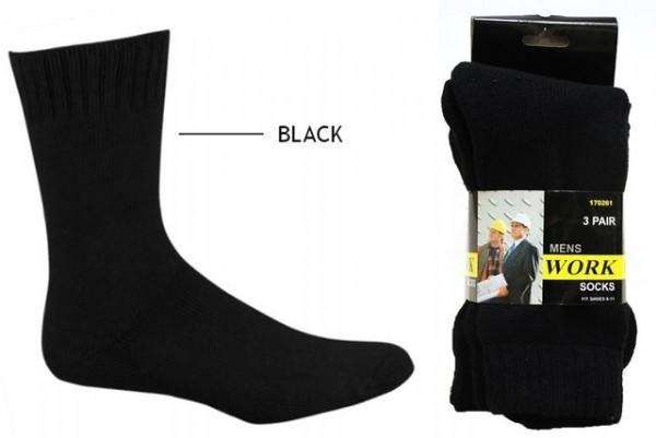 Heavy Duty Work Socks 3PK Black - Grocery Deals