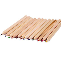 12 Pack Natural Wood Coloured Pencils - Grocery Deals