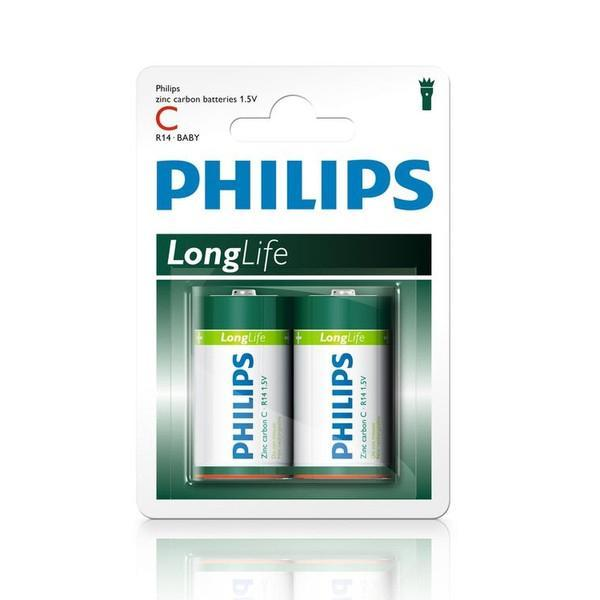 2 x Philips Longlife C Zinc Batteries - Grocery Deals