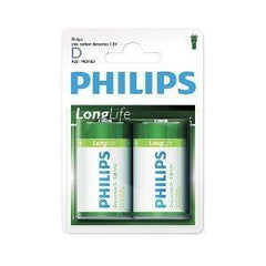 2 x Philips Longlife D Zinc Batteries - Grocery Deals