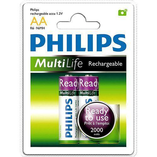 2 x Philips MultiLife Rechargeable AA Battery 2000 mAH - Grocery Deals
