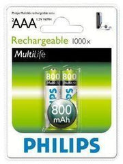 2 x Philips MultiLife Rechargeable AAA Battery 800 mAH - Grocery Deals