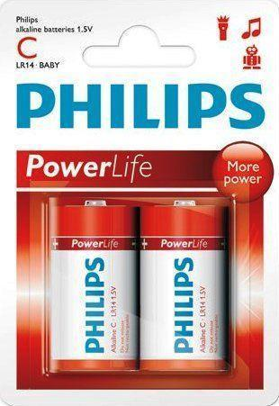 2 x Philips Power Alkaline C Batteries - Grocery Deals
