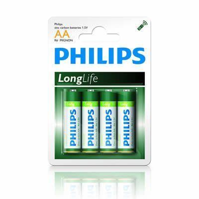 4 x Philips Longlife AA Zinc Batteries - Grocery Deals