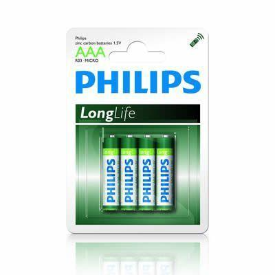 4 x Philips Longlife AAA Zinc Batteries - Grocery Deals