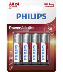 4 x Philips Power Alkaline AA Batteries - Grocery Deals