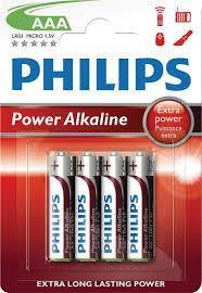4 x Philips Power Alkaline AAA Batteries - Grocery Deals