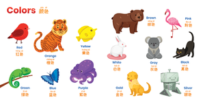 Chinese vocabulary for kids. Book of First Words teaches colors, numbers and other early words in Chinese.